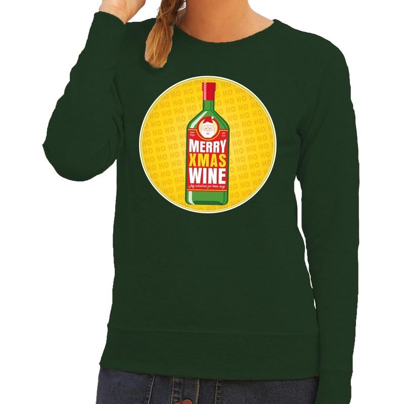 Foute kersttrui Merry x-mas Wine groen voor dames 2XL (44) Groen