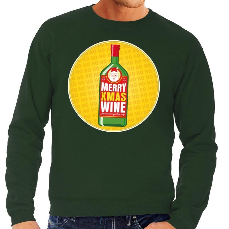 Foute kersttrui Merry x-mas Wine groen voor heren S (48) Groen