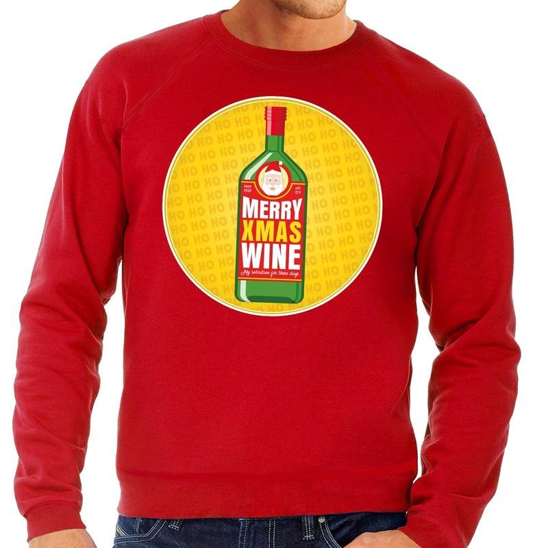 Foute kersttrui Merry x-mas Wine rood voor heren M (50) Rood