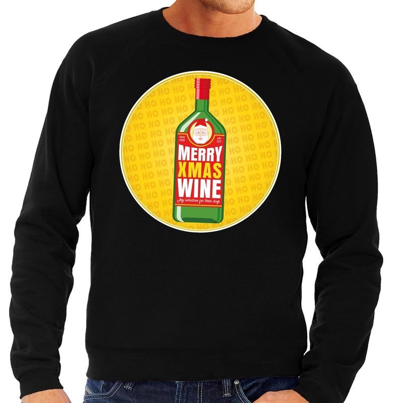 Foute kersttrui Merry x-mas Wine zwart voor heren XL (54) Zwart