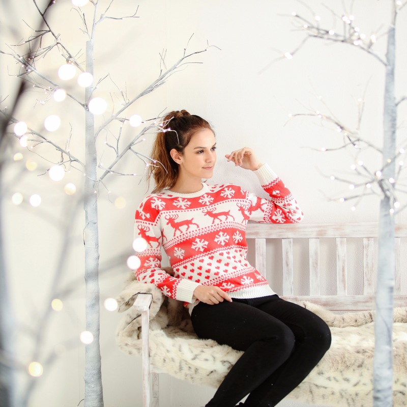 Foute kersttrui nordic print rood/wit voor dames XL (42) Multi