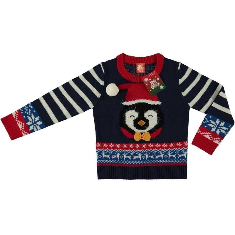 Foute kersttrui pinguin navy voor kinderen 116/122 (6/7 jaar) -