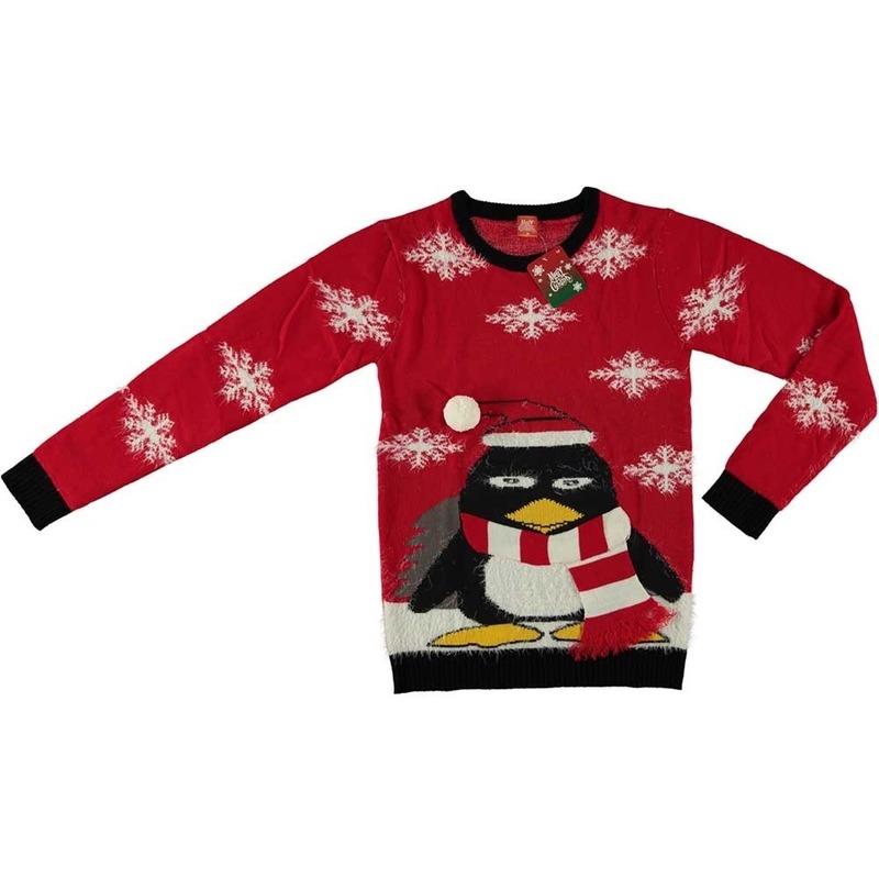 Foute kersttrui pinguin rood voor volwassenen M Rood