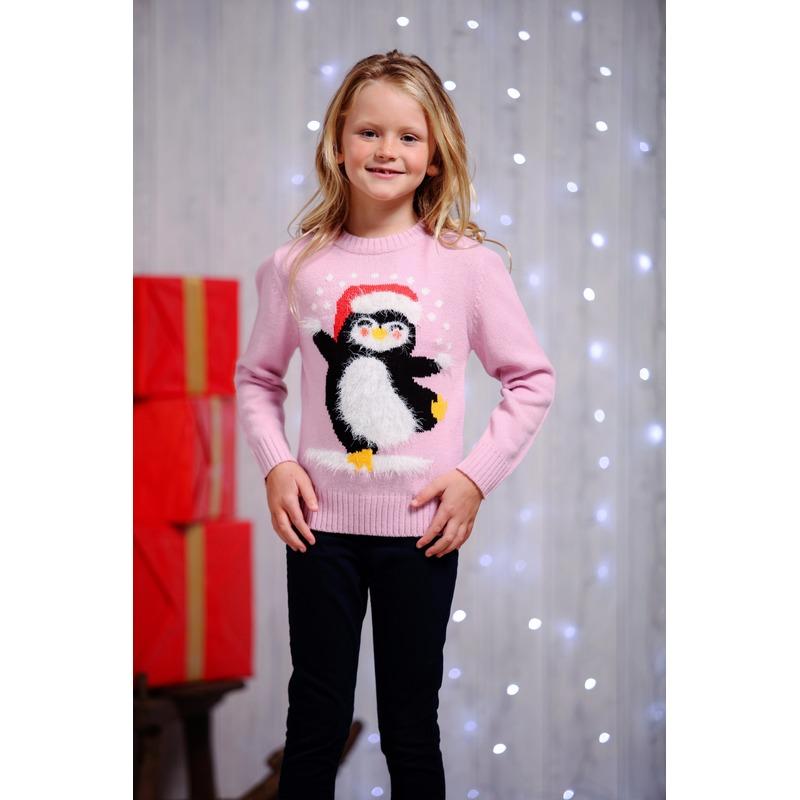 Foute kersttrui pinguin voor kids 9/10 jaar (140/152) Roze
