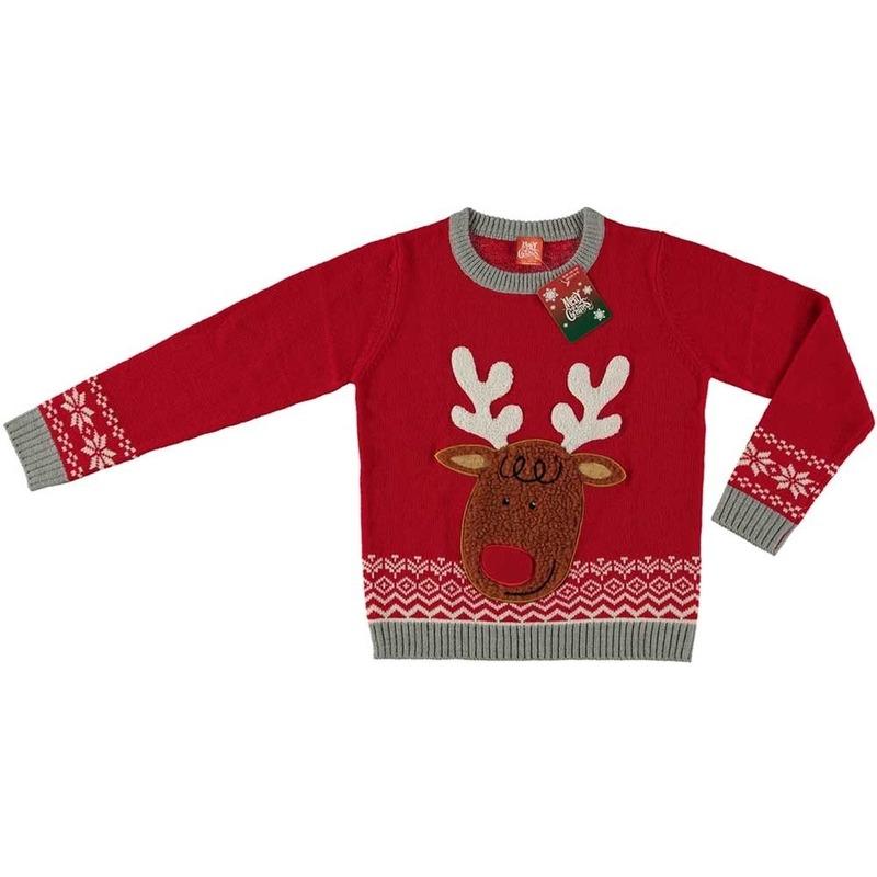 Foute kersttrui rendier rood voor kinderen 128/134 (8/9 jaar) Rood