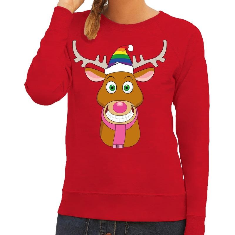 Foute kersttrui rood Gay Ruldolf regenboog muts en roze sjaal voor dames M (38) Rood