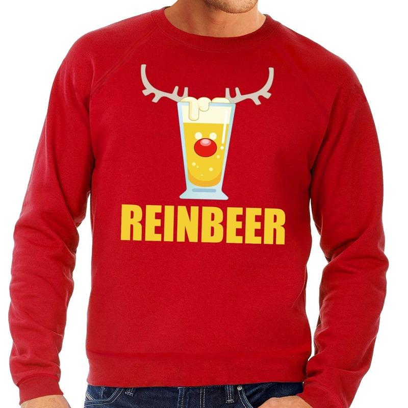 Foute kersttrui rood met biertje heren L (52) Rood