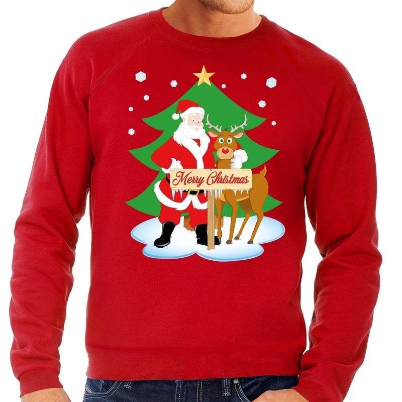 Foute kersttrui rood met de kerstman en Rudolf voor heren 2XL (56) Rood