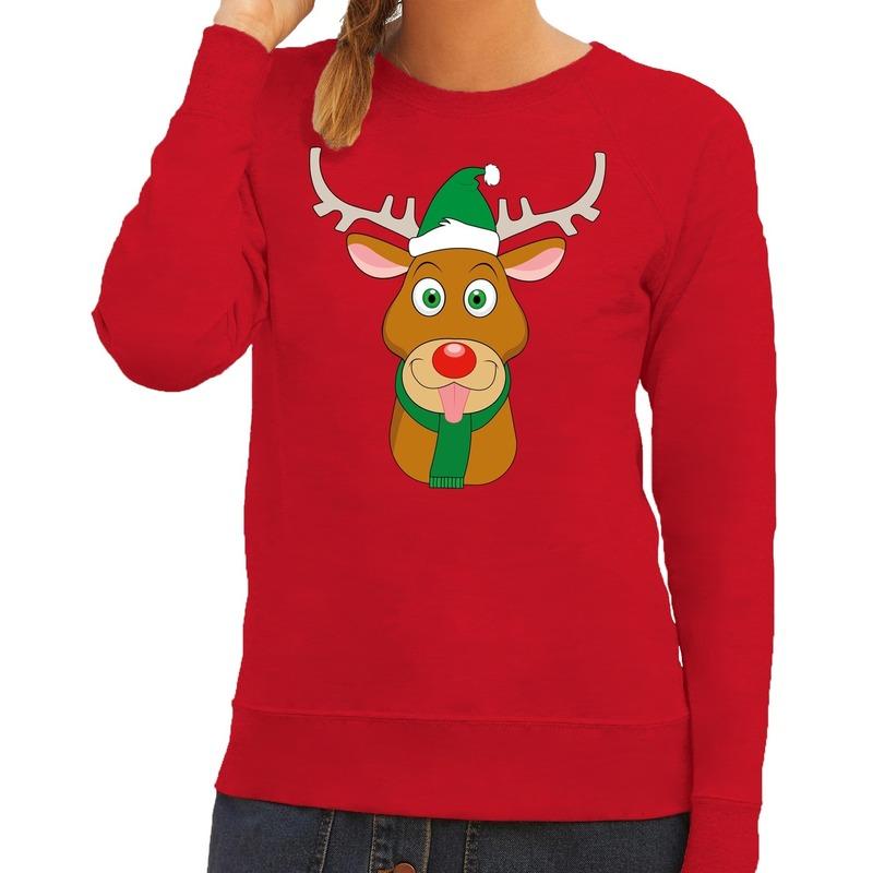 Foute kersttrui rood met Ruldolf het rendier met groene muts voor dames L (40) Rood