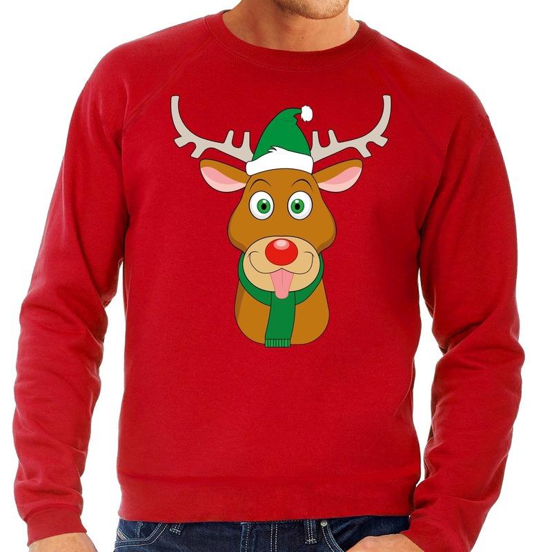 Foute kersttrui rood met Ruldolf het rendier met groene muts voor heren S (48) Rood