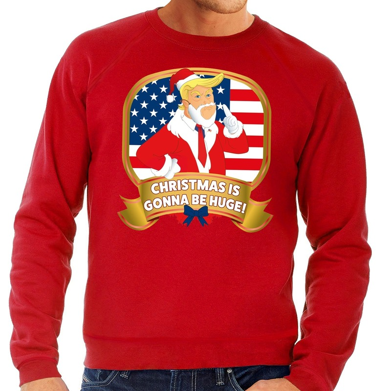 Foute kersttrui rood met Trump Christmas is gonne be Huge heren M (50) Rood
