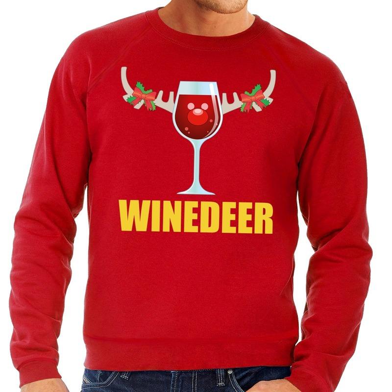 Foute kersttrui rood met wijntje heren M (50) Rood