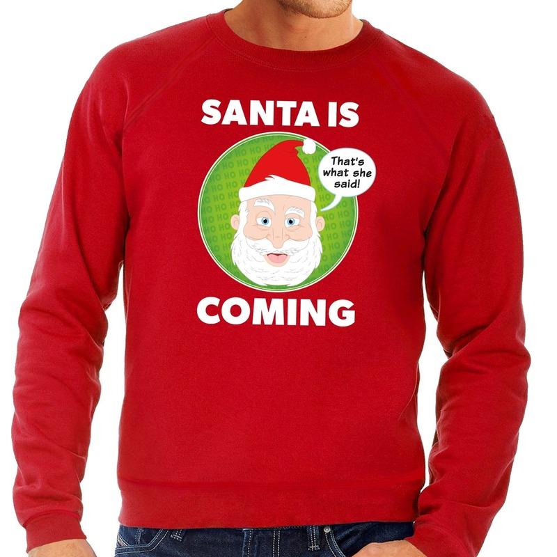 Foute kersttrui rood Santa is coming voor heren L (52) Rood
