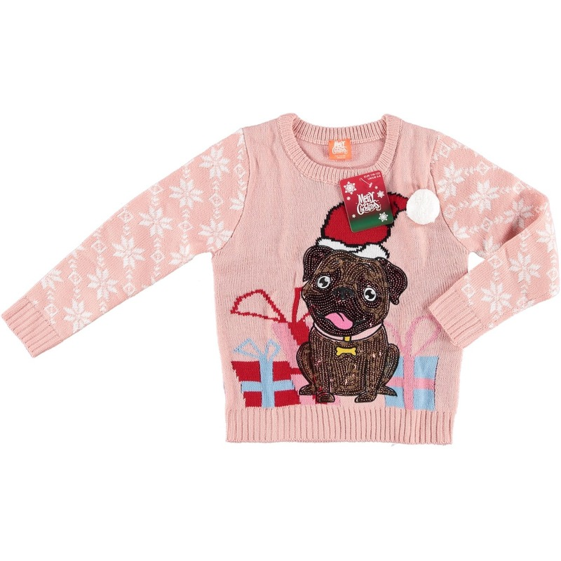 Foute kersttrui roze mopshondje met kerstmuts voor kinderen 152/164 (12/13 jaar) - kerst truien
