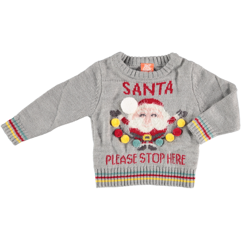 Foute kersttrui Santa Please Stop Here voor baby 56/62 (1-4 mnd) -