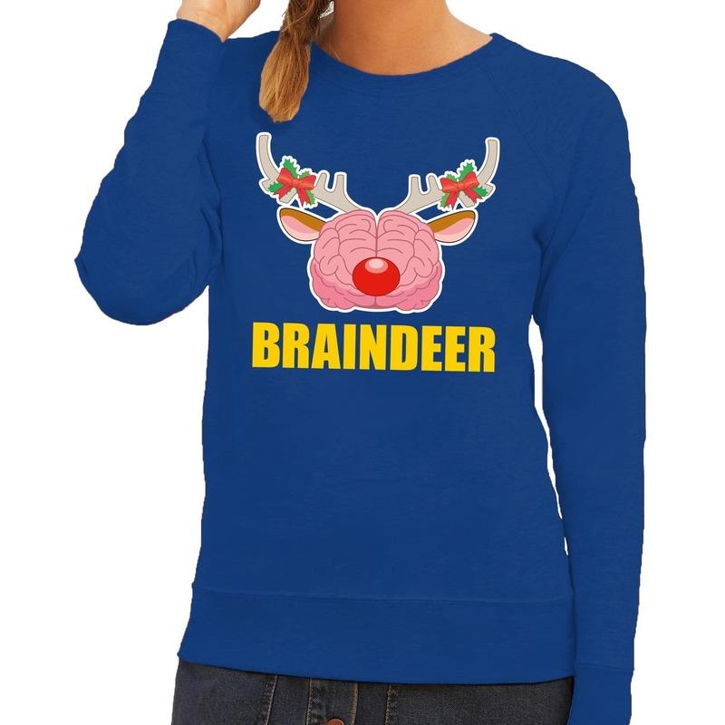 Foute kersttrui / sweater braindeer blauw voor dames 2XL (44) Blauw