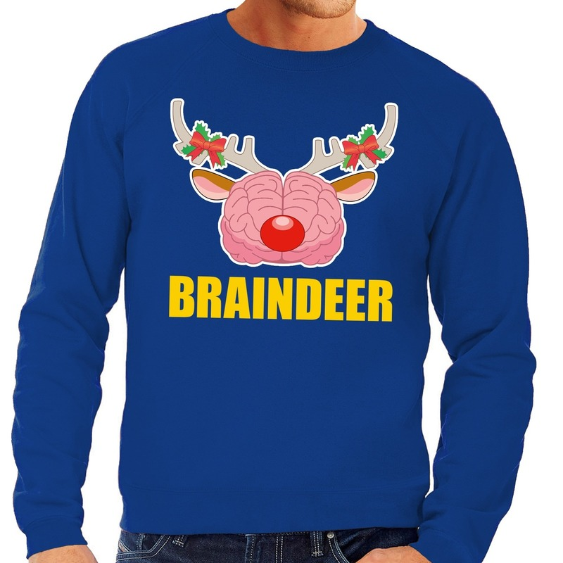 Foute kersttrui / sweater braindeer blauw voor heren L (52) Blauw