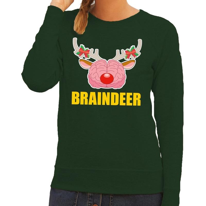 Foute kersttrui / sweater braindeer groen voor dames XS (34) Groen