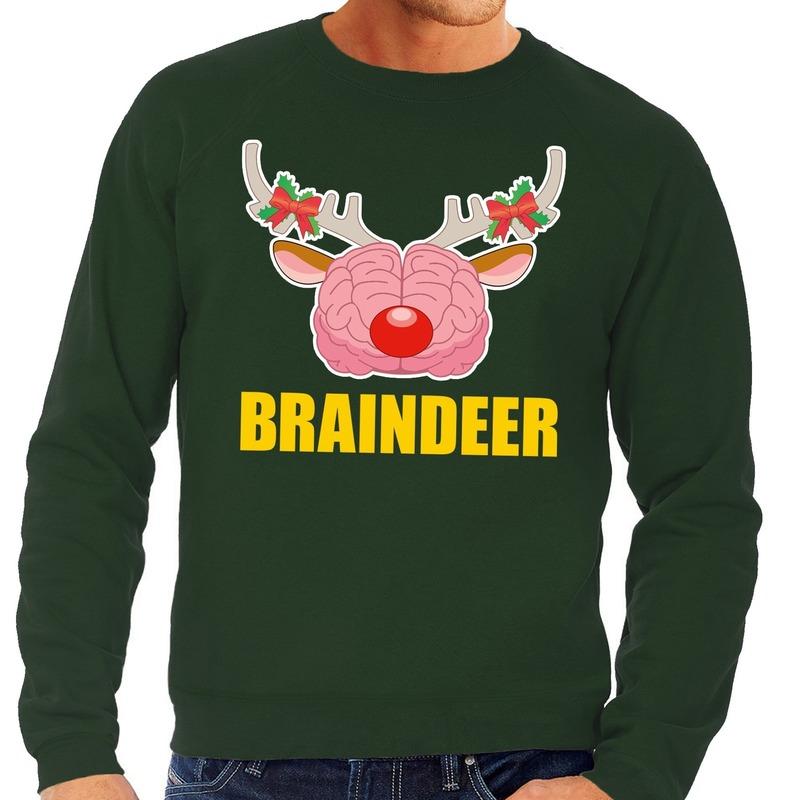 Foute kersttrui / sweater braindeer groen voor heren XL (54) Groen