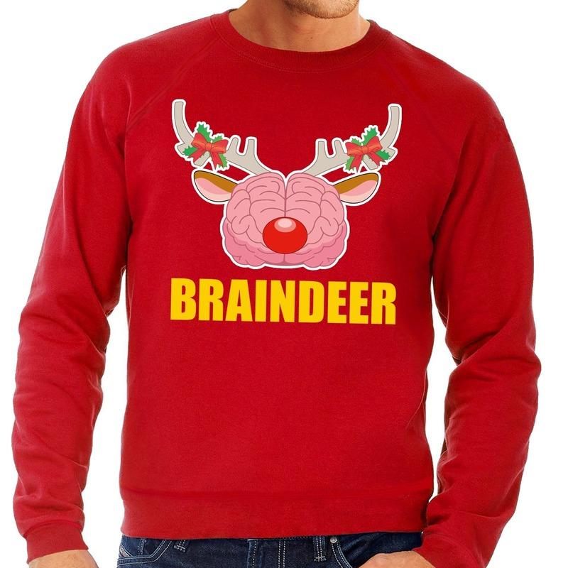 Foute kersttrui / sweater braindeer rood voor heren 2XL (56) Rood