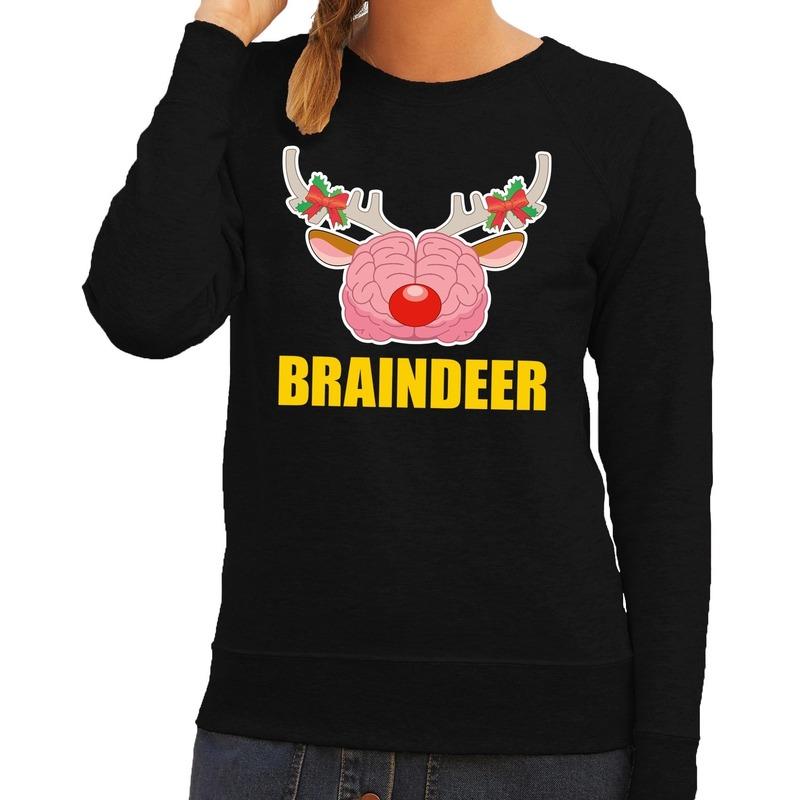 Foute kersttrui / sweater braindeer zwart voor dames L (40) Zwart