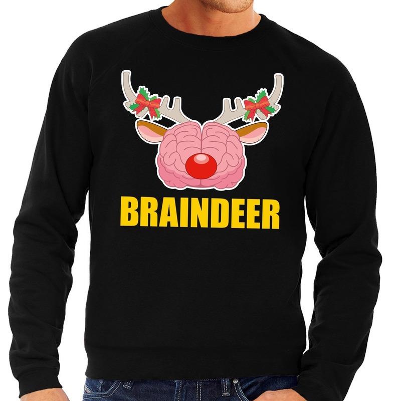 Foute kersttrui / sweater braindeer zwart voor heren M (50) Zwart