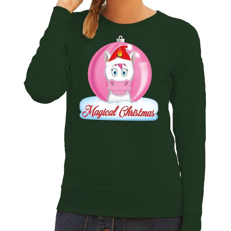 Foute kersttrui / sweater eenhoorn magical christmas groen voor dames L (40) Groen