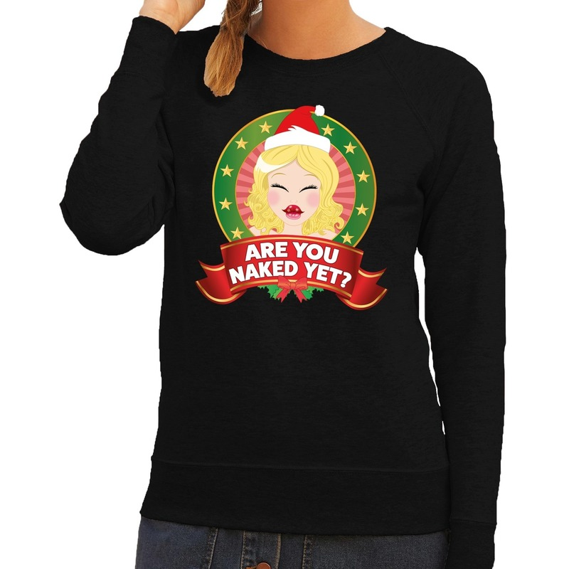 Foute kersttrui zwart Are You Naked Yet voor dames M (38) Zwart