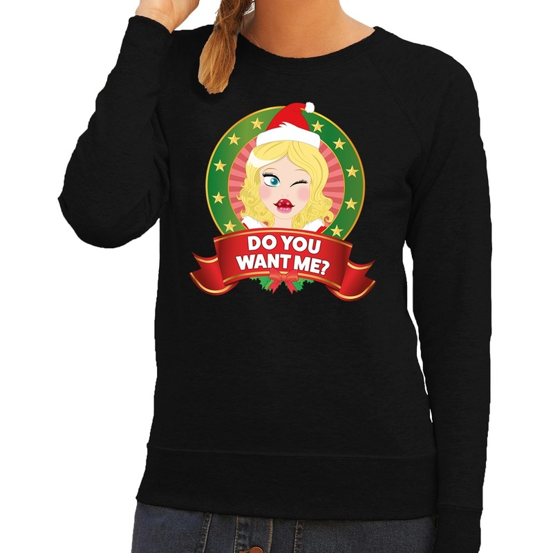 Foute kersttrui zwart Do You Want Me voor dames XL (42) Zwart