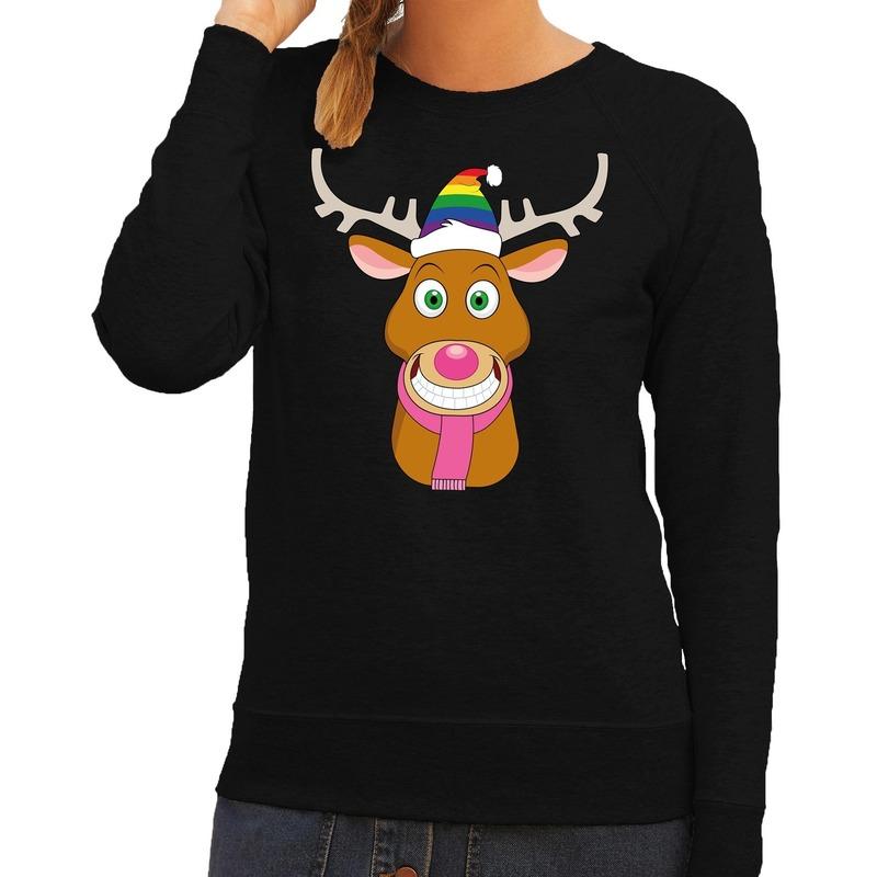 Foute kersttrui zwart Gay Ruldolf regenboog muts en roze sjaal voor dames XS (34) Zwart