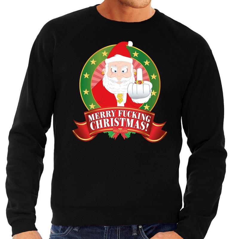 Foute kersttrui zwart Kerstman met middelvinger Merry Fucking Christmas heren L (52) Zwart
