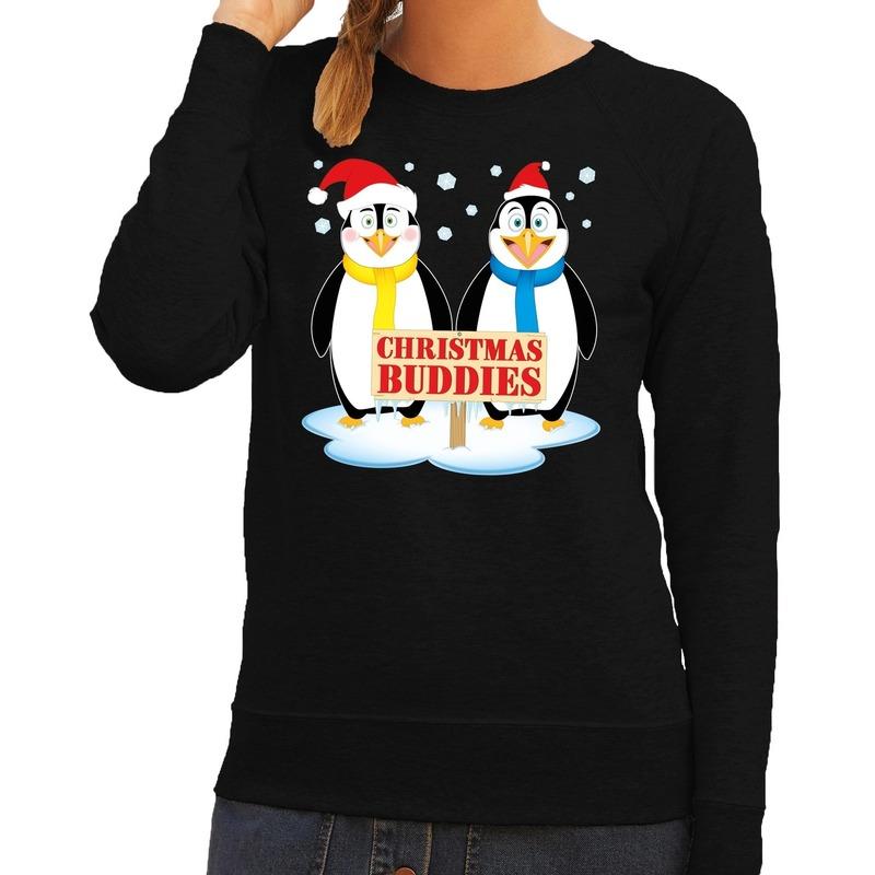 Foute kersttrui zwart met 2 pinguins voor dames XS (34) Zwart