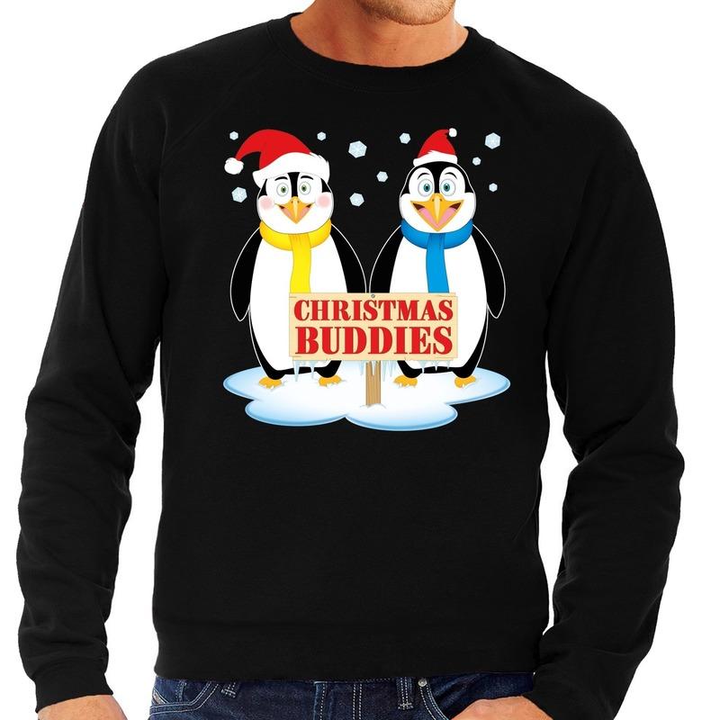 Foute kersttrui zwart met 2 pinguins voor heren L (52) Zwart