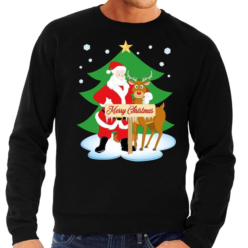 Foute kersttrui zwart met de kerstman en Rudolf voor heren 2XL (56) Zwart