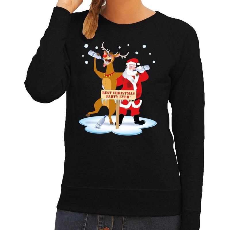 Foute kersttrui zwart met een dronken kerstman en Rudolf voor dames L (40) Zwart