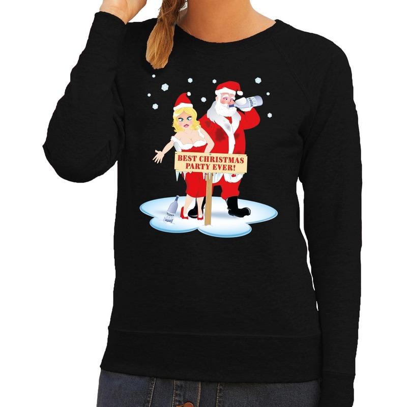 Foute kersttrui zwart met een dronken kerstman en zijn vrouw voor dames L (40) Zwart