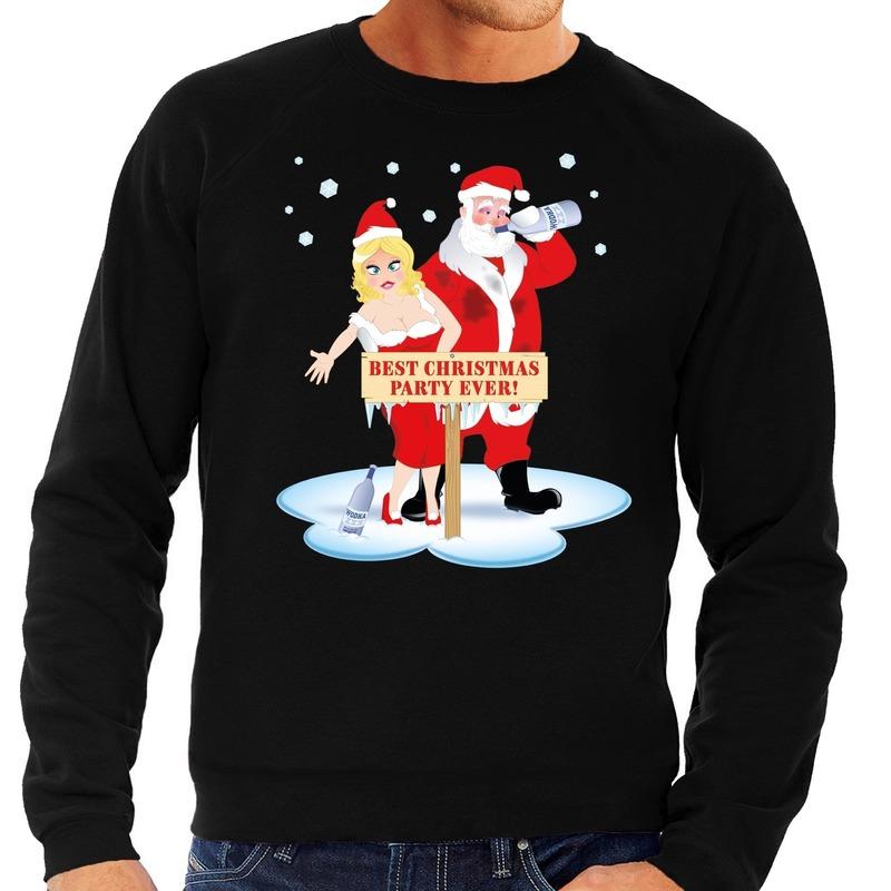 Foute kersttrui zwart met een dronken kerstman en zijn vrouw voor heren L (52) Zwart
