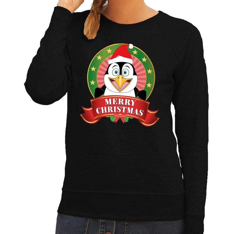 Foute kersttrui zwart met pinguin voor dames M (38) Zwart