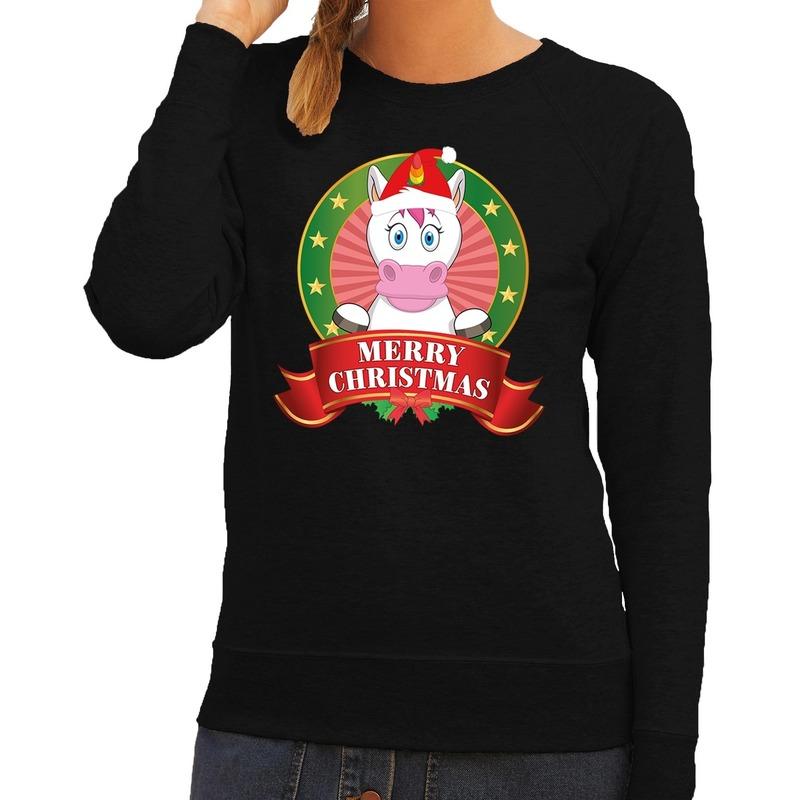 Foute kersttrui zwart met unicorn voor dames XS (34) Zwart