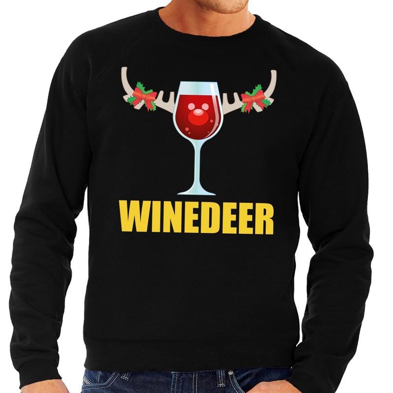Foute kersttrui zwart met wijntje heren 2XL (56) Zwart