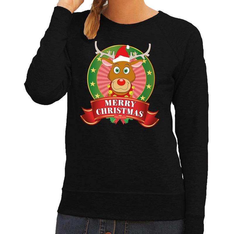 Foute kersttrui zwart Rudolf het rendier voor dames XS (34) Zwart