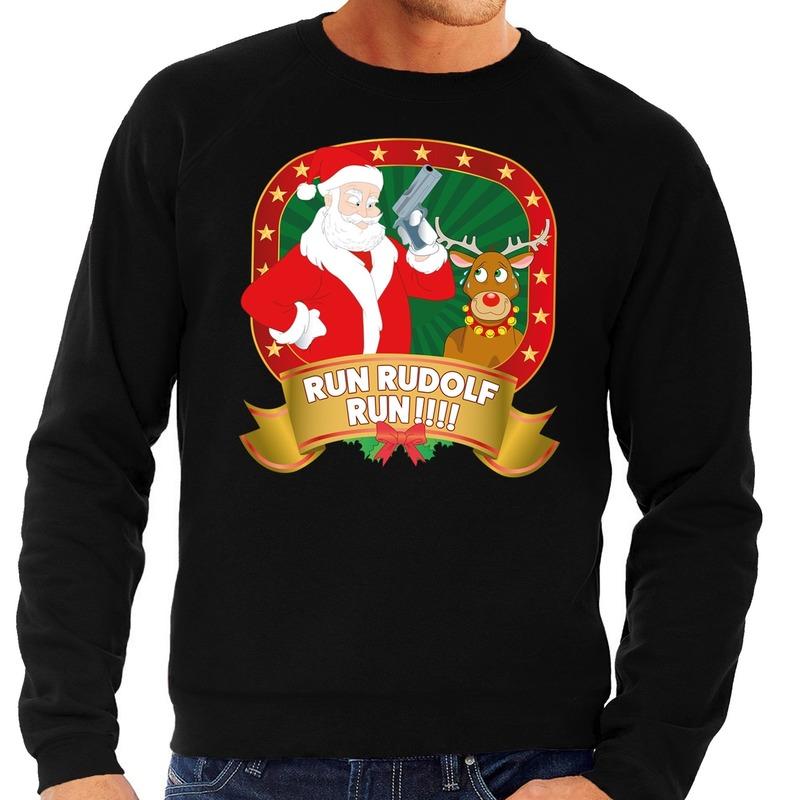 Foute kersttrui zwart Rudolph en Kerstman met pistool heren M (50) Zwart