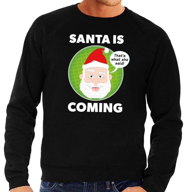 Foute kersttrui zwart Santa is coming voor heren L (52) Zwart