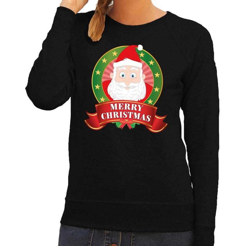Foute kersttrui zwart Santa Merry Christmas voor dames XL (42) Zwart