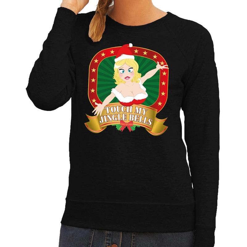 Foute kersttrui zwart Touch my Jingle Bells voor dames M (38) Zwart