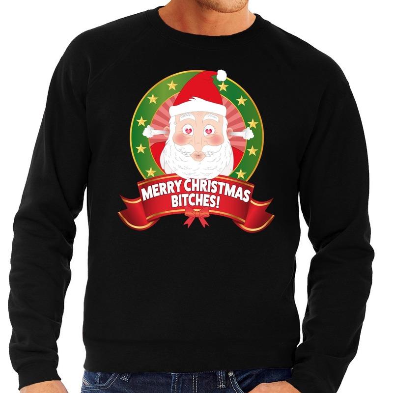Foute kersttrui zwart verliefde Kerstman heren L (52) Zwart