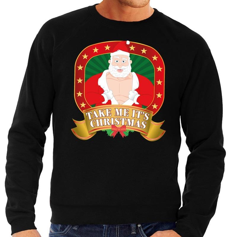 Foute kersttrui zwart vieze kerstman heren S (48) Zwart
