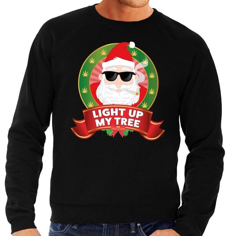 Foute kersttrui zwart wiet rokende kerstman Light Up My Tree heren 2XL (56) Zwart