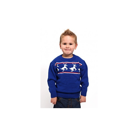 Foute kinder kerst polo blauw 5-6 jaar Blauw
