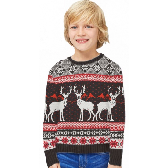 Foute kinder kersttrui Happy Reindeers 9-10 jaar - kerst truien kind